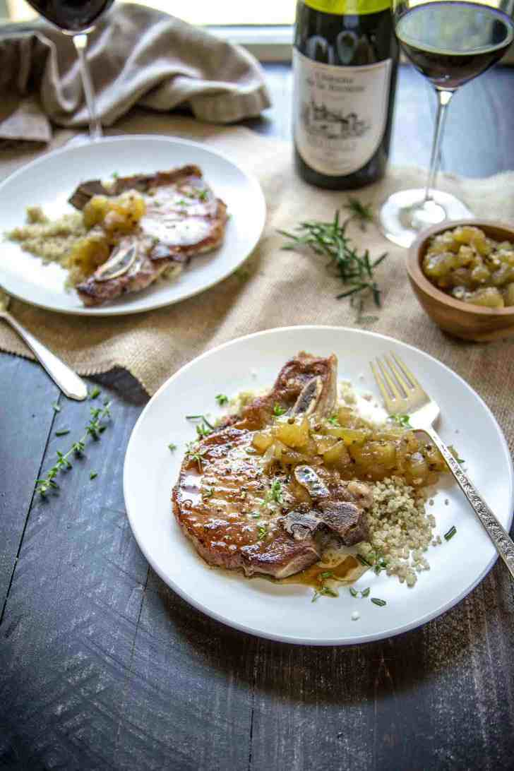 Herb Marinated Pork Chops with Apple Chutney