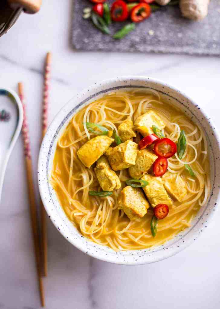 Thai Curry Noodle Soup with Chicken