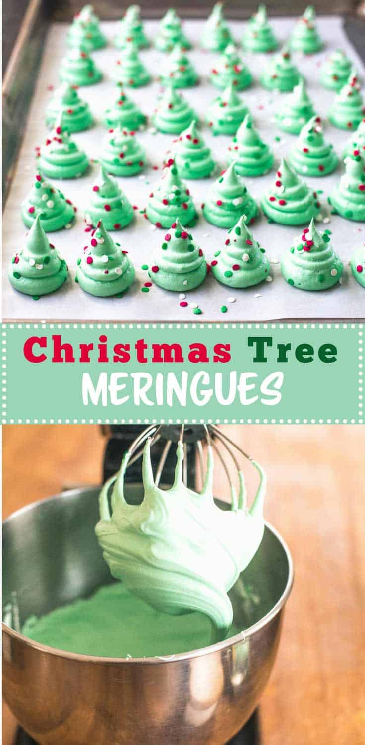 Christmas Tree Meringues are festive, fun and make a light airy addition to a cookie plate this time of year. Naturally dairy-free and gluten-free. - Christmas Tree Meringues