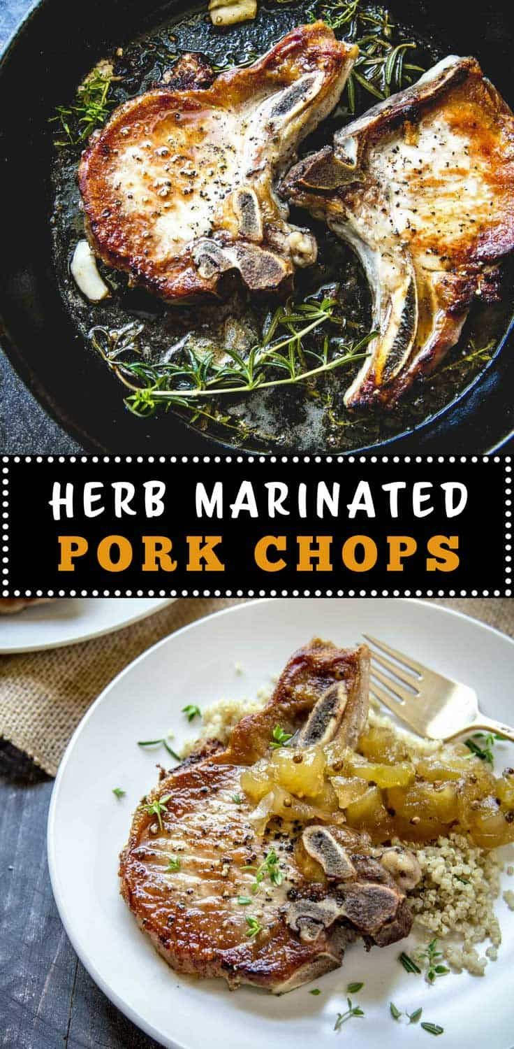 Herb Marinated Pork Chops with Apple Chutney - These simple, flavorful pork chops are marinated in herbs and garlic and topped with a tart apple chutney. Great on the grill or stovetop.