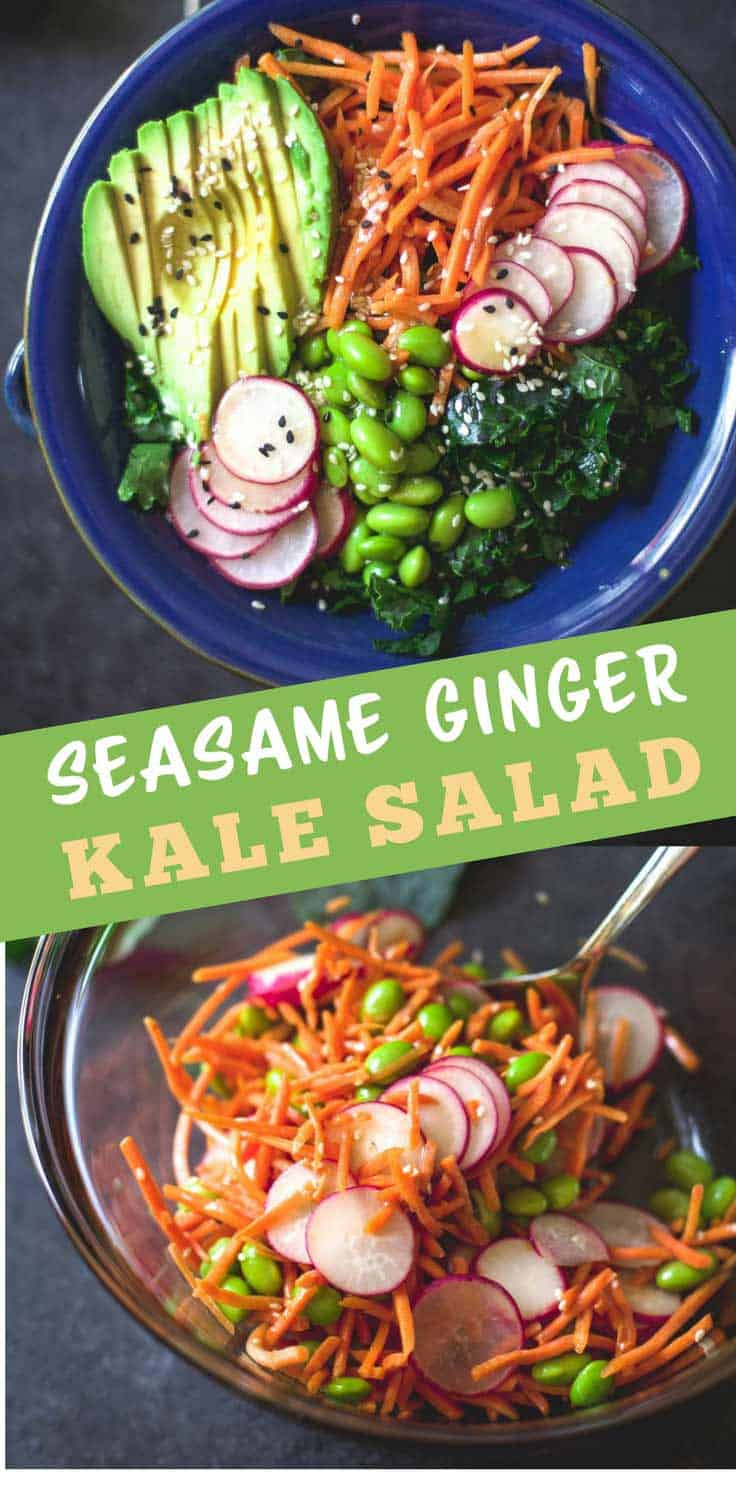 Sesame Ginger Kale Salad - A bright, fresh salad is packed with protein, full of color. Thick, slightly sweet vinaigrette with sesame oil and fresh ginger makes the perfect topping.