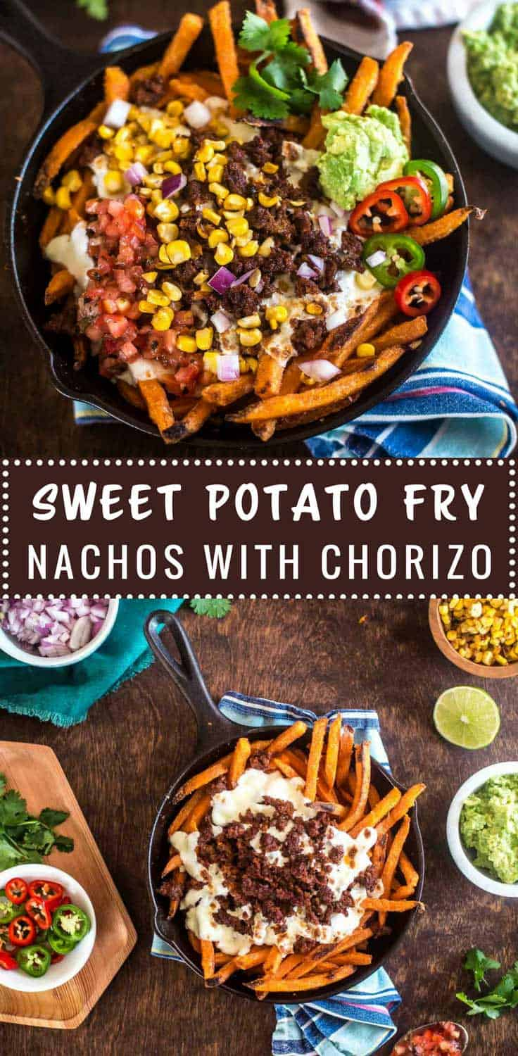 Sweet Potato Fry Nachos with Chorizo - Sweet, spicy, messy goodness. All the things to love about nachos with sweet potato fries as a base and spicy chorizo on top.