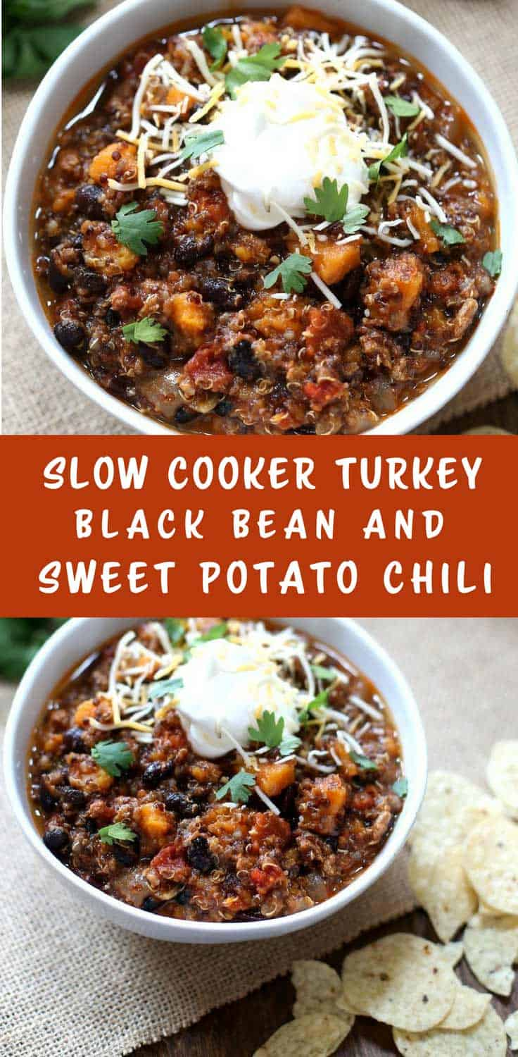 Slow Cooker Turkey, Black Bean and Sweet Potato Chili - With protein-packed ingredients including quinoa, this slow cooker dinner still comes in at only 380 calories per serving.