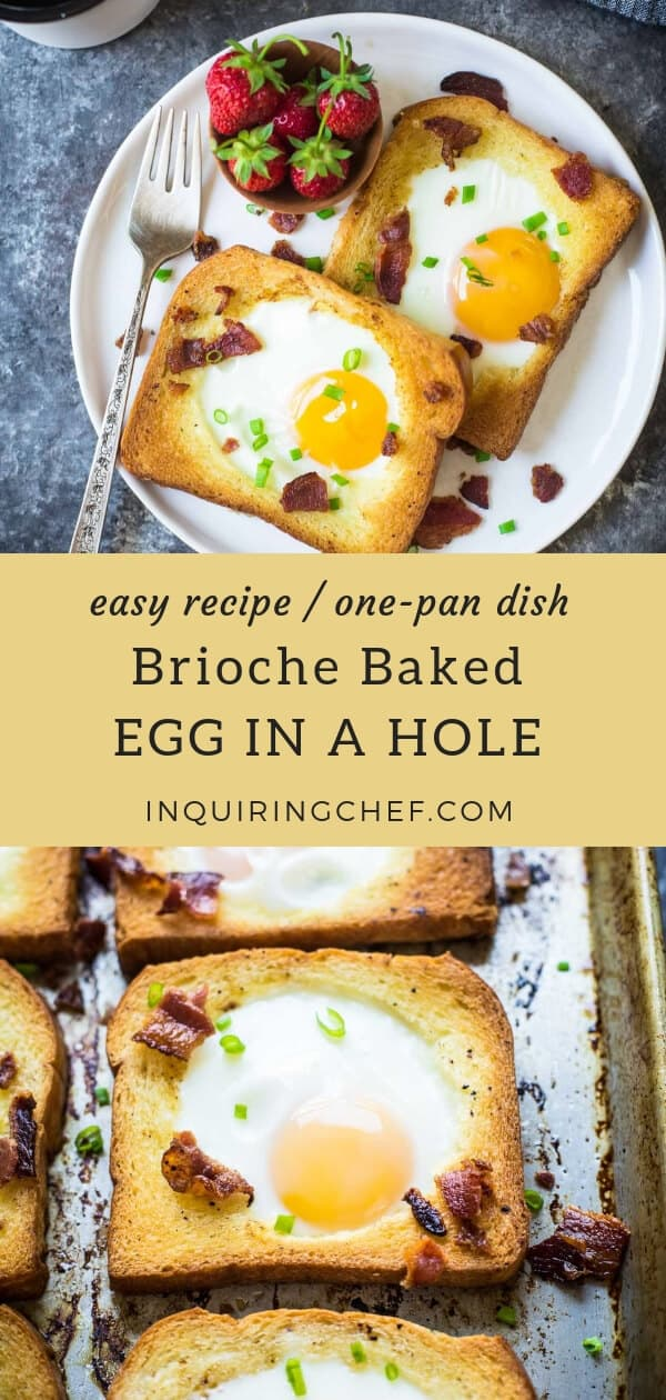 Egg in a Hole is a classic diner dish that can be easily scaled up for a crowd using this baked version. Take it to the next level with bacon and buttery brioche bread!