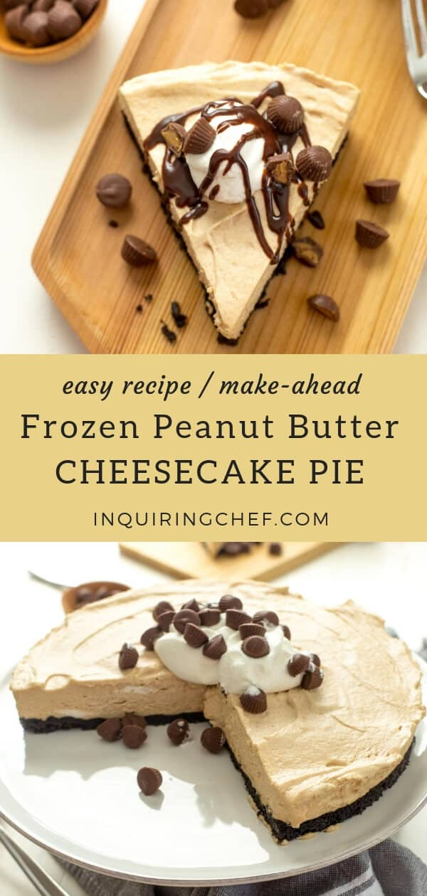 Frozen Peanut Butter Cheesecake Pie - Chocolate and peanut butter. There are a million ways to combine them and none ever get old! This pie is like a fluffy frozen peanut butter cheesecake - just defrost, slice and serve! Easy recipe that you can make-ahead.