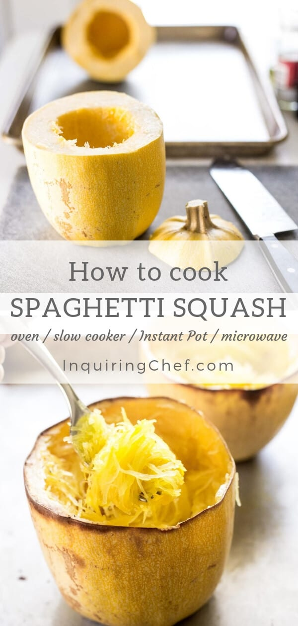 How to Cook Spaghetti Squash (Instant Pot, Slow Cooker, Oven, or Microwave)  Step-by-step instructions with photos. Easy tutorial!