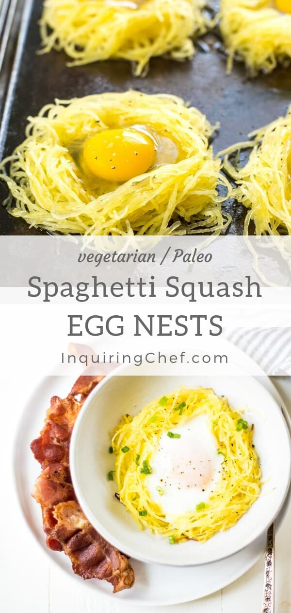 """Spaghetti Squash Egg Nests - Baked """"nests"""" made with spaghetti squash and filled with perfectly cooked eggs. The """"nests"""" come out of the oven with crispy bits on top and tender centers - like the squash version of hash browns. Vegetarian recipe. Paleo recipe. No carb. Low carb. Delicious!"""