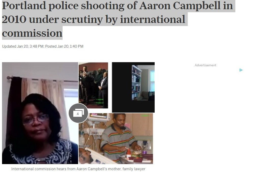 National media coverage highlights case of Aaron Campbell at International Commission of Inquiry