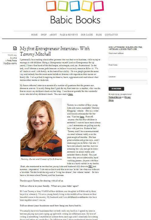 My Entrepreneur Interview Over At Babic Books