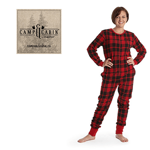 red-plaid Camp & Cabin by Snugabye  adult onsie sleepers