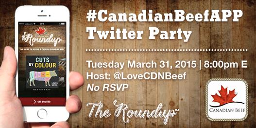Twitter Party Announcement for The Roundup™ APP #CanadianBeefApp