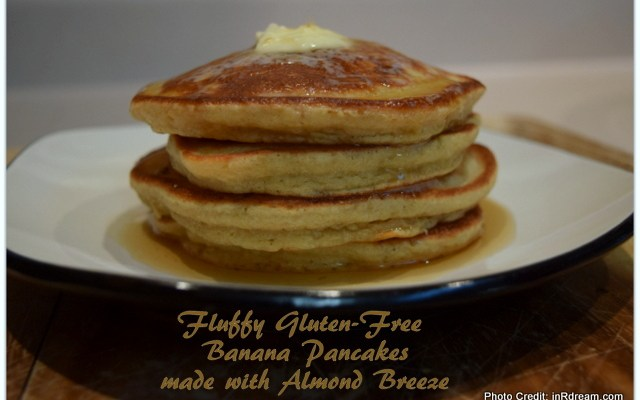 Fluffy Gluten-Free Banana Pancake Recipe made with Almond Breeze #CoolerwithAlmondBreeze