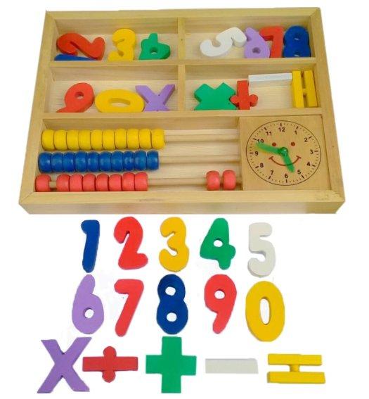sempoa kayu dengan jam untuk anak