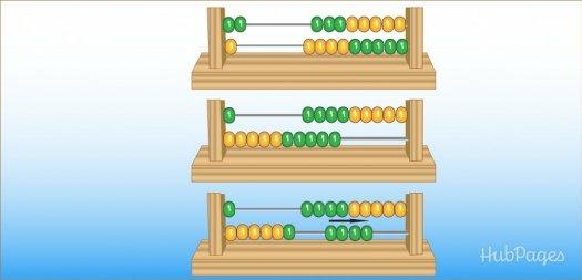 Belajar sempoa dasar Gambar 10. Ilustrasi menjumlahkan angka dua digit dengan sempoa