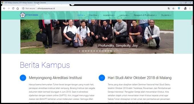 Tampilan Website STFT Widya Sasana Malang
