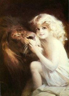 Styka Painting, Little Girl and Lion