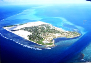 The aerial view of Thinadhoo Island