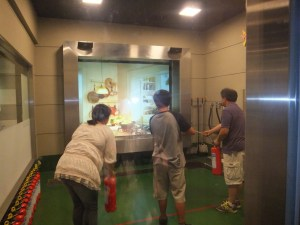 Disaster training center saitama putting out a fire