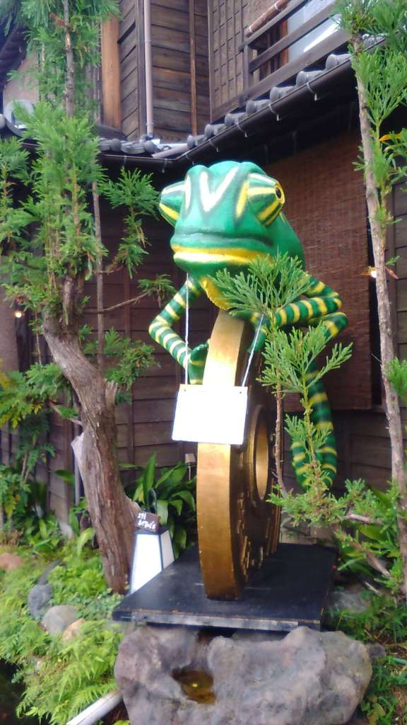 Kawagoe Styrofoam art Chameleon made of styrofoam in Kawagoe Saitama