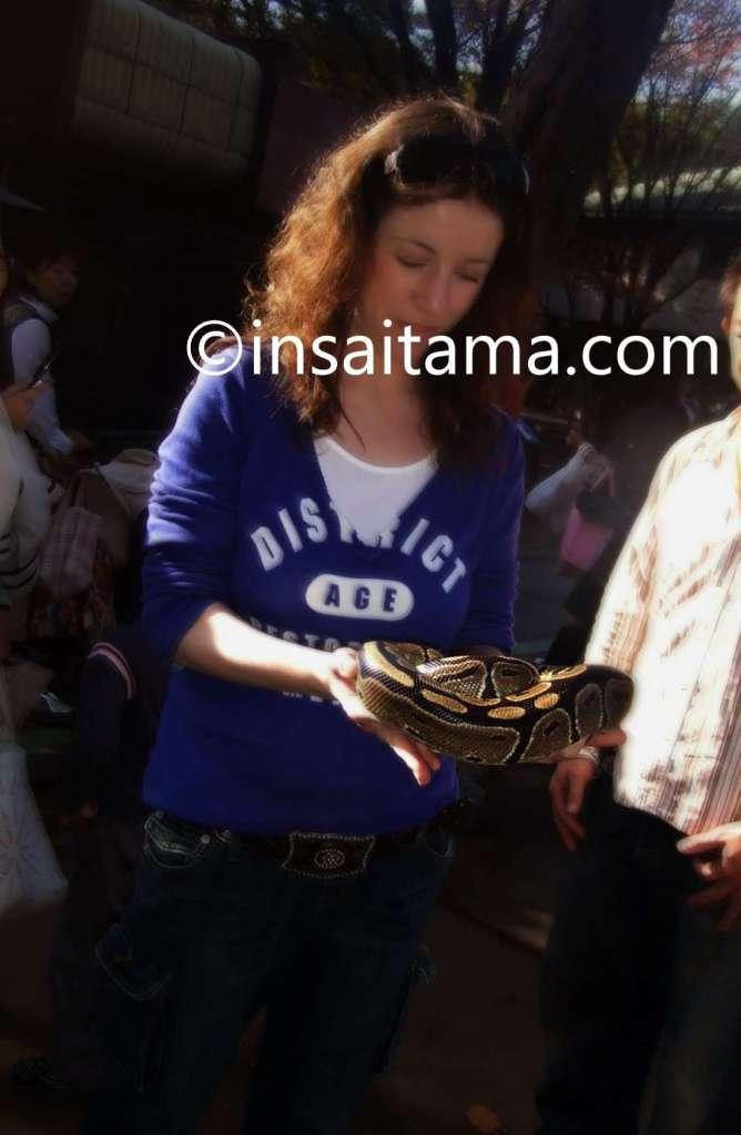 Holding a snake in the pet corner of Saitama Children's Zoo saitama children's animal nature park