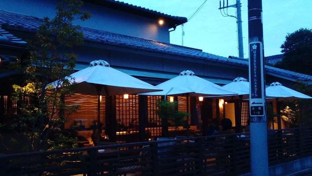 Hatsuneya Garden cafe at dusk