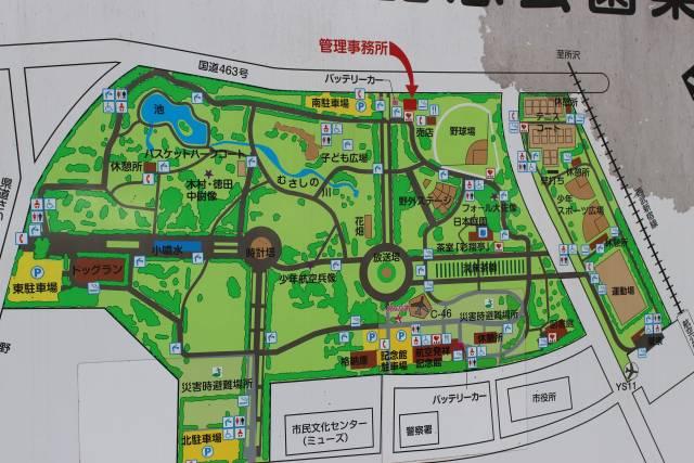 Map of facilities at Tokorozawa Aviation Memorial Park