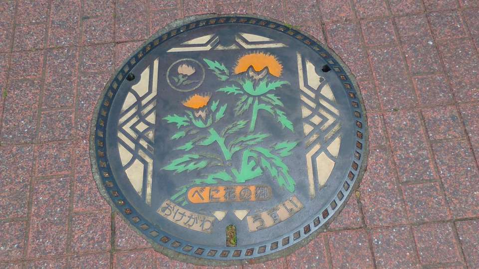 Benibana safflower festival manhole cover