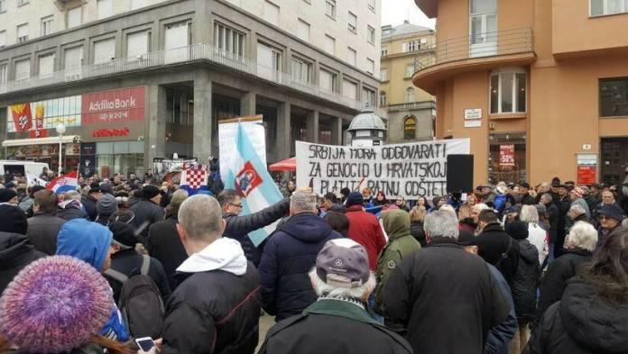 BETAPHOTO/Mirjana Vujovic Djurak/DS: Protest u Zagrebu zbog dolaska Aleksandra Vučića