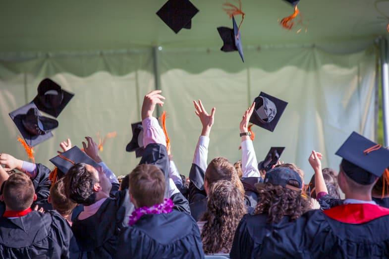 students celebrating academic achievements