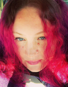 Rayne with pink and purple hair