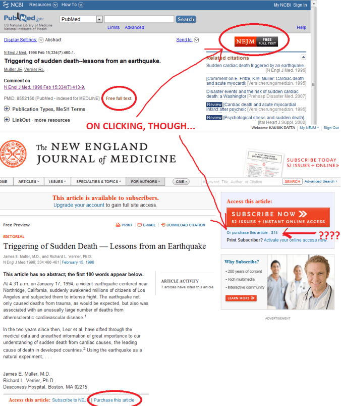nejm article access issue