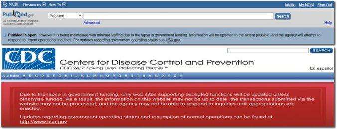 shutdown messages PubMed CDC