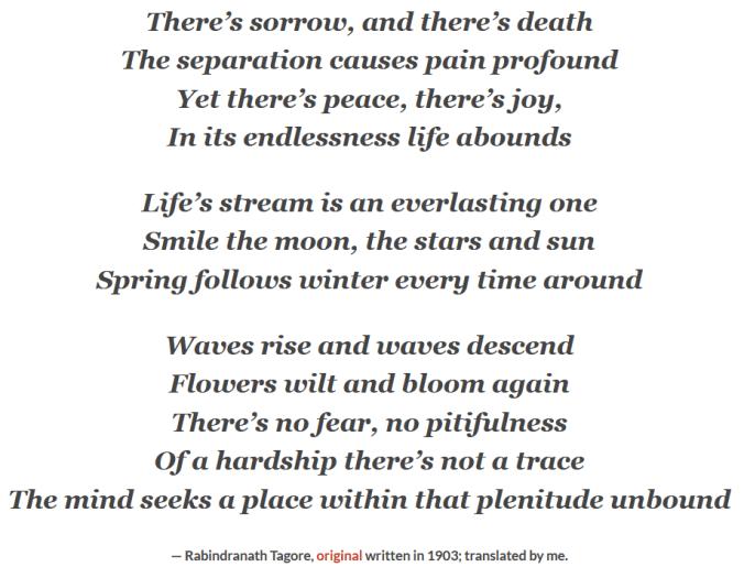 Poem on Sorrow, Death, and Joy by Rabindranath Tagore