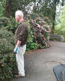 One of the many volunteer gardeners enjoying the view.