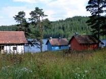 Huts at side of lake
