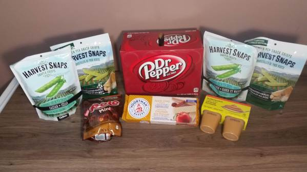 Some of the snacks and drinks I like for NaNoWriMo. Snap pea crisps, Dr Pepper and more.