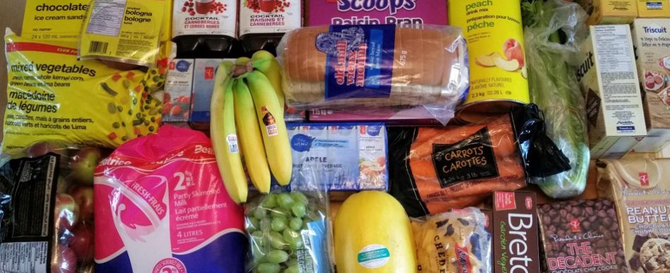 Winter food prep banner - table full of groceries