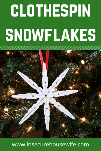Bring winter inside with this simple clothespin snowflake craft. Great for all ages to make.