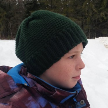 A hat I crocheted for my son, in his favorite color green.