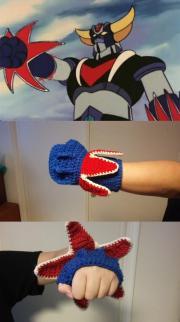 Crochet #9 : Patron gant fulgoropoing de Goldorak / Pattern fingerless glove UFO robot Grendizer