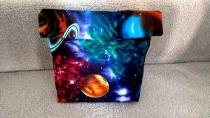 Sewing wrapping gift pouch space theme