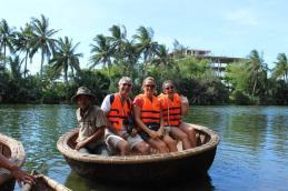 Basket boating on the Thu Bon River