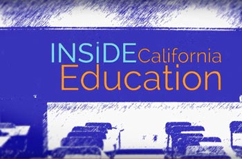 Inside California Education (picture of desks inside a classroom)