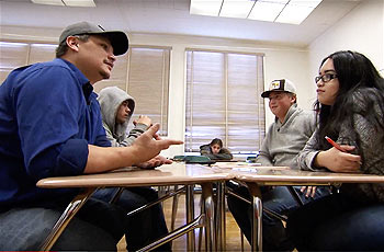 james gensaw with his high school students in his class on the yurok language