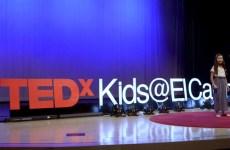 young girl speaker at tedx kids el cajon talk