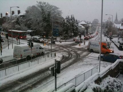 "Snow joke: what the council claimed to be ""well gritted"" roads of Croydon in the snow, Nov 30, 2010, at the junction of Park Lane and Coombe Road"