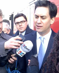 Ed Miliband, the Labour Party leader, who is campaigning in Croydon today