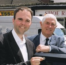 Old mates: Gavin Barwell, now MP for the Whitgift Foundation, pictured with David Osland when they were Conservative party colleagues on Croydon Council