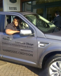 Athletics is not without its rewards: barely a year after he left school, and Lawrence Okoye's record-breaking exploits saw him given the use of a Range Rover by local dealership Harwoods
