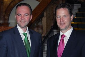 "Electoral liability? Gavin Barwell, left, thinks that a 30% swing against the Conservatives in Croydon North is ""good"". By Nick Clegg's standards, perhaps..."